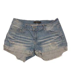 KLIQUE B! Light Denim Distressed Shorts!!